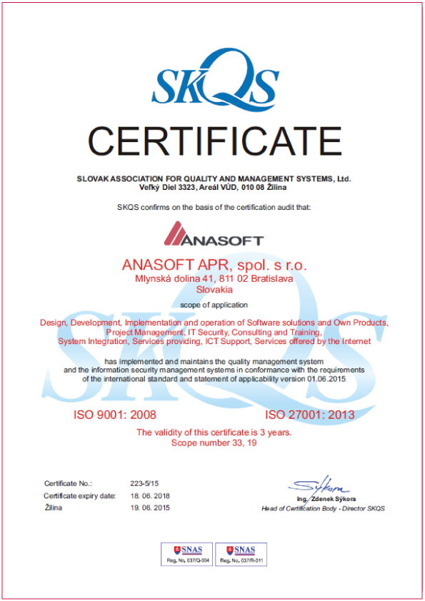 The Certificates Confirm That Anasoft Complies With High Safety